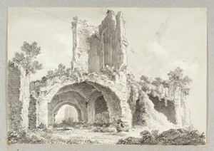 Rome: Ruined Buildings null Ferdinand Becker active 1793-1825 Purchased as part of the Oppé Collection with assistance from the National Lottery through the Heritage Lottery Fund 1996 http://www.tate.org.uk/art/work/T09474